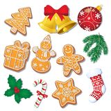 Set of Christmas gingerbread cookies, decorations. Set of glazed Christmas gingerbread cookies and decorations, fir tree, mistletoe, cartoon vector illustration Royalty Free Stock Image