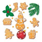 Set of Christmas gingerbread cookies, decorations. Set of glazed Christmas gingerbread cookies, fir tree branch, misletoe, decoration ball, cartoon vector Stock Photos