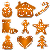 Set of Christmas gingerbread cookies. Set of Christmas cookies, gingerbread star, snowman, candy, bell, tree, man and heart on white royalty free illustration