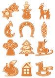 Set of Christmas gingerbread figures with glaze. Vector illustration. stock illustration