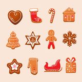 Set of Christmas gingerbread with glaze. New Year, sweet  Stock Image