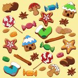 Set of Christmas gingerbread, spice, sweets and nuts. stock illustration