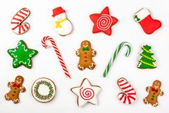 Set of Christmas gingerbread on white background. stock photography