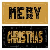 Set Christmas giveaway cards with handwritten typography and decorative elements. Decorative  illustration for winter invita. Tions, cards, posters and flyers Stock Image
