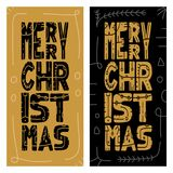 Set Christmas giveaway cards with handwritten typography and decorative elements. Decorative vector illustration for winter invita. Tions, cards, posters and Royalty Free Stock Photos