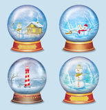 Set of  christmas glass ball  on blue background Stock Images