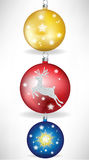 Set of christmas globes Stock Photos
