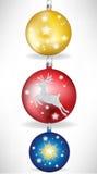 Set of christmas globes. Set of three christmas globes Stock Photos