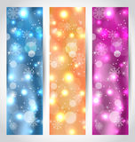 Set Christmas glowing banners with snowflakes Royalty Free Stock Photo