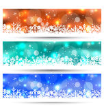 Set Christmas glowing cards with snowflakes Royalty Free Stock Photos