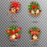 Set of Christmas gold  bells with red bow.  illustration. Jingle bells, set of Christmas gold  bells with red bow and fir tree branches on transparent background Stock Images