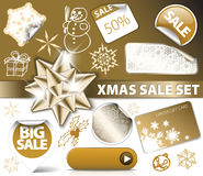 Set of Christmas golden discount tickets Stock Photos