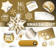 Set of Christmas golden discount tickets Stock Photos