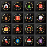 Set of Christmas golden icons on the black background Stock Photo