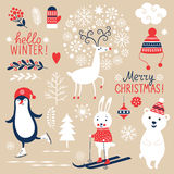 Set of Christmas graphic elements stock photos
