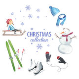 Set of Christmas graphic elements. Set of colorful christmas characters and decorations. Christmas graphic elements, vector illustration for greeting cards royalty free illustration