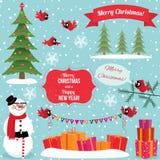Set of Christmas graphic elements stock illustration