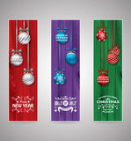 Set of christmas greeting bookmarks. Colored set of christmas greeting bookmarks Stock Photo