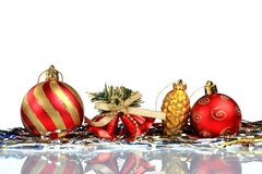 Set Christmas greeting card background, on glass, close up, isolated on white background. Stock Photography