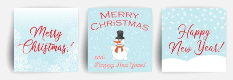 Set of Christmas Greeting card design template. Christmas background with snowman. Falling snow. Vector vector illustration