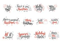 Set of Christmas greeting cards. Hand drawn design elements. Vector calligraphy design Royalty Free Stock Photos