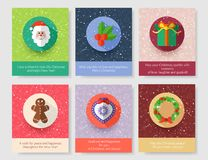 Set of christmas greeting cards. Modern flat design. Vector illustration stock illustration