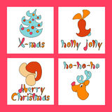 Set of Christmas greeting cards. A set of images for the and New Year 2017. Eve. Xmas. Vector illustration. Holiday objects collection. Christmas theme with toy Royalty Free Stock Image