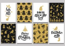 Set of christmas greeting cards. Xmas postcards with seamless patterns and typography design. Black and gold holiday templates. Vector illustration EPS10 stock illustration