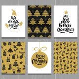 Set of christmas greeting cards. Xmas postcards with seamless patterns and typography design. Black and gold holiday templates. Vector illustration EPS10 royalty free illustration