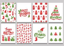 Set of christmas greeting cards. Xmas postcards with seamless patterns and typography design. Red and green holiday templates. Vector illustration EPS10 stock illustration