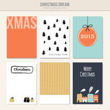 Set of christmas greeting, journal cards,. Illustration backgrounds Stock Photo