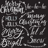 Set of Christmas hand-label design on a black background. Vector Stock Images