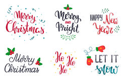 Set of Christmas hand lettering elements. Let it snow. Merry Christmas. Merry and Bright. Happy New Year. Ho-ho-ho. Vector illustr Stock Photos