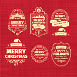 Set of Christmas and Happy New Year badges labels with clean modern styled design. Christmas decoration collection. Calligraphic and typographic elements Stock Photography