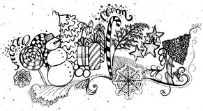 Set of Christmas and Happy New Year elements Stock Photo