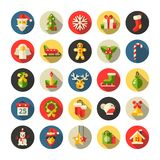 Set of Christmas and Happy New Year flat design Royalty Free Stock Image