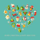 Set of Christmas and Happy New Year flat design Stock Photo