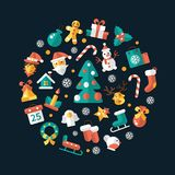 Set of Christmas and Happy New Year flat design Royalty Free Stock Photos