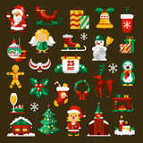 Set of Christmas and Happy New Year flat design. Vector icons stock illustration