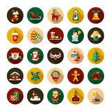 Set of Christmas and Happy New Year flat design. Vector icons royalty free illustration