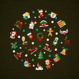 Set of Christmas and Happy New Year flat design Royalty Free Stock Photography