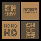 Set Christmas and Happy New Year greeting cards with handwritten brush calligraphy and decorative elements. Decorative  illu. Stration for winter invitations Stock Photo
