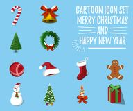 Set of Christmas and Happy New Year .12 label, XMas icon. Cartoo. N style. Vector Illustration Stock Image