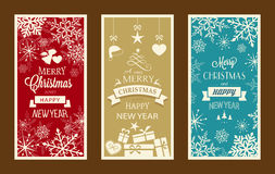 Set of 3 Christmas and Happy New Year labels. Set of typography Merry Christmas and Happy New Year banners with embellishments and Christmas ornaments royalty free illustration