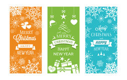 Set of 3 Christmas and Happy New Year labels. Set of typography Merry Christmas and Happy New Year banners with embellishments and Christmas ornaments stock illustration