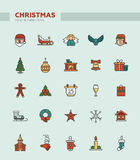 Set of Christmas and Happy New Year line flat Royalty Free Stock Image