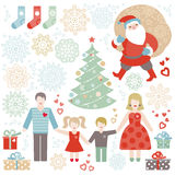 Set of Christmas, Happy New Year vector elements. Royalty Free Stock Images