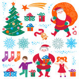 Set of Christmas, Happy New Year vector elements. Royalty Free Stock Image