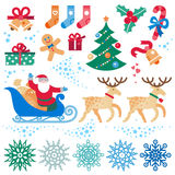 Set of Christmas, Happy New Year vector elements. Stock Images