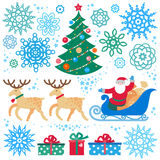 Set of Christmas, Happy New Year vector elements. Royalty Free Stock Photo